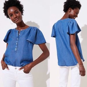 Ann Taylor Loft Women Chambray Denim Henley Blouse
